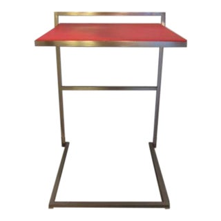 Modern Poltrona Frau Red Leather Accent Table For Sale
