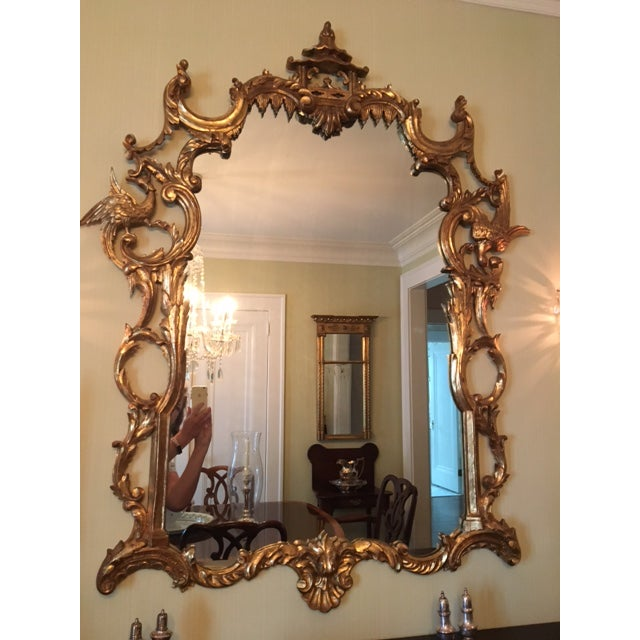 Asian Chinese Chippendale Style Giltwood Mirror With Pagoda Top For Sale - Image 3 of 11