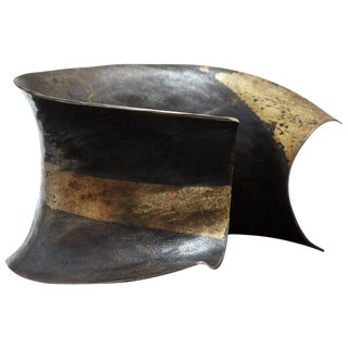 Pat Flynn Hand-Forged Blackened Iron and Gold Cuff For Sale