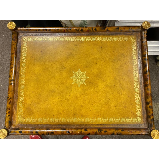 English Maitland-Smith Faux Tortoise Bamboo & Leather Side Table For Sale - Image 3 of 5
