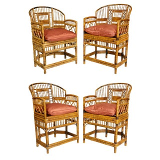 Two Pairs of Bamboo Armchairs For Sale