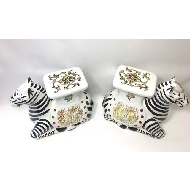 Hollywood Regency Zebra Garden Stools - A Pair - Image 5 of 7