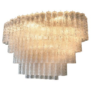 Large 1970s Venini Murano Glass Chandelier With Five Tiers For Sale