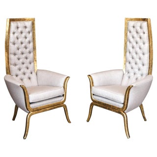Pair of James Mont Style High Back Armchairs in 22-Karat Gold