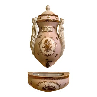 Biscuit and Porcelain Nippon Water Spout and Container For Sale