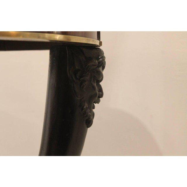 Carved Fauna Head Empire Tripod Pedestal Table in Mahogany, Marble & Giltbronze For Sale - Image 12 of 12