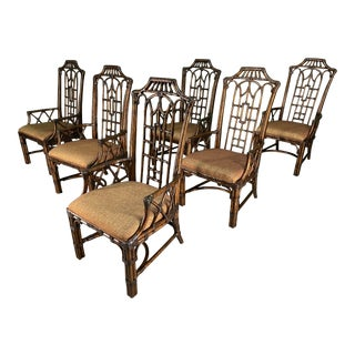 Rattan Chinoiserie Pagoda Style Dining Chairs, Set of 6 For Sale