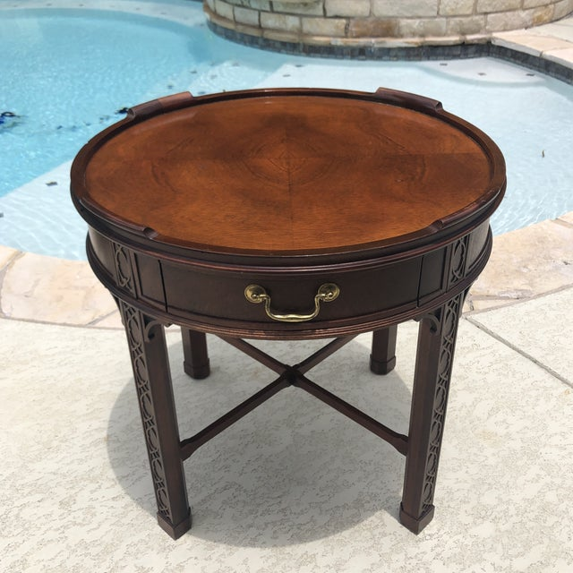 1950s Arts and Crafts Baker Furniture Round Chippendale Style Side Table For Sale - Image 13 of 13