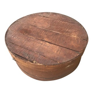 Antique Large Round Wooden Cheese Box For Sale