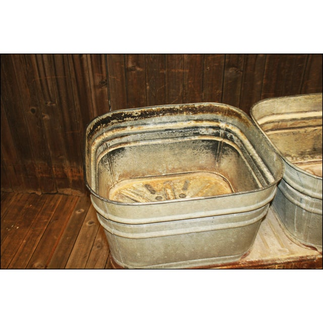 Vintage Wheeling Galvanized Double Wash Tub Stand For Sale - Image 6 of 11