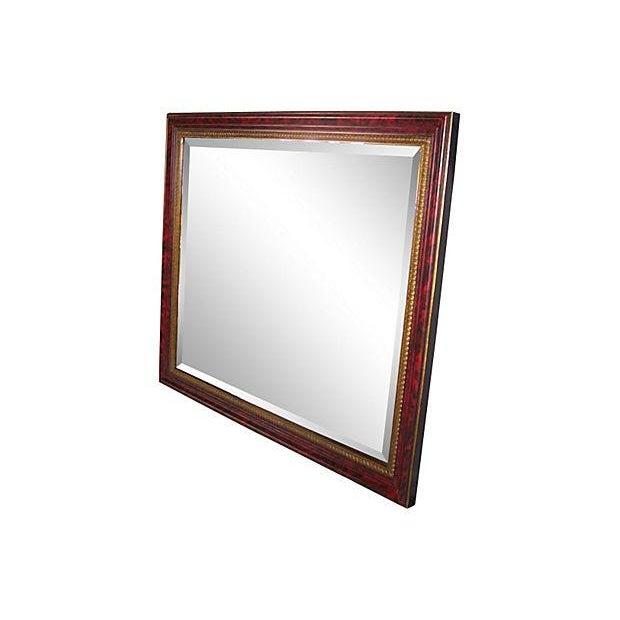 Grand Regency Style Faux Tortoise Mirror - Image 4 of 6