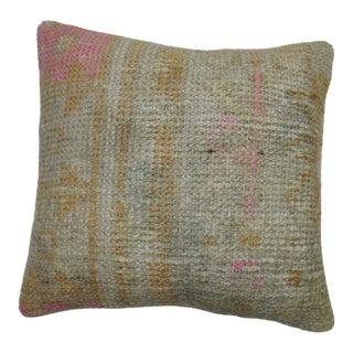 Vintage Oushak Rug Pillow With Pops of Pink
