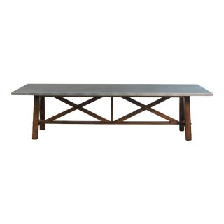 Rectangular Tin Top Walnut Dining Table For Sale