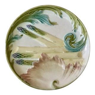 1880s Majolica Asparagus Plate Signed Keller Et Guerin Luneville For Sale