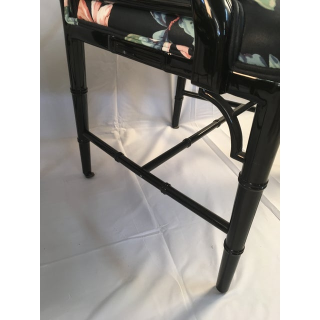 Cotton 1980s Chinese Chippendale Black Lacquer Arm Chairs - a Pair For Sale - Image 7 of 11
