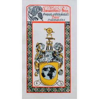 1914 German Art Nouveau Poster, German Heraldic Symbols (Matted) For Sale