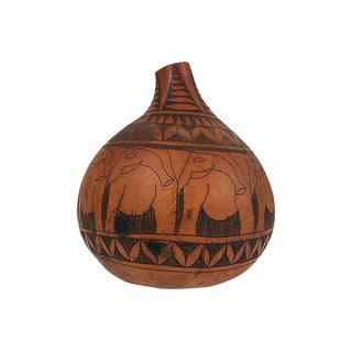 Hand-Carved African Gourd For Sale