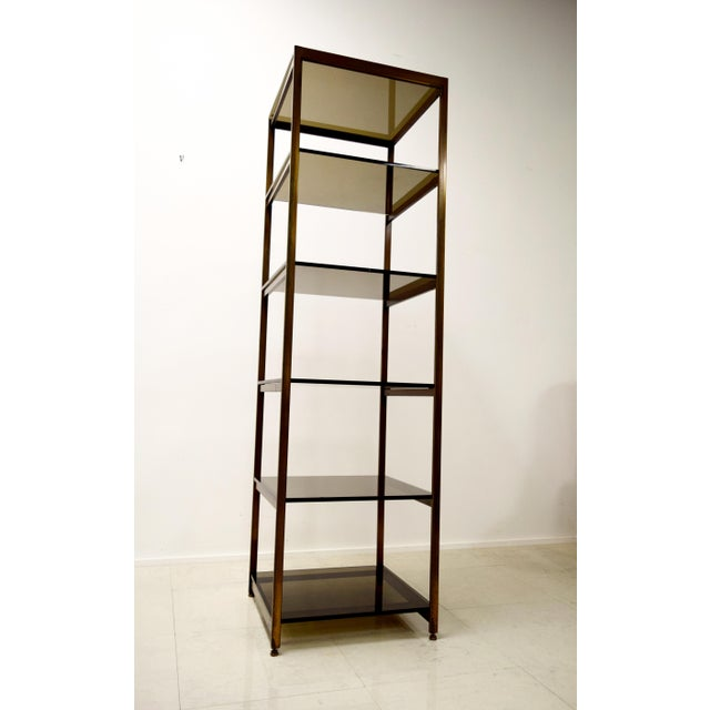 Vintage Brass and Smoked Glass Etagere Shelf For Sale - Image 7 of 7