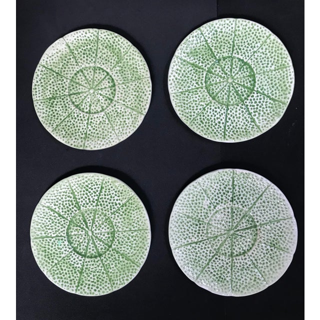 Bordallo Pinheiro 1970s Vintage Knobler Cantaloupe Bowls With Plates - Set of 4, 8 Pieces For Sale - Image 4 of 13