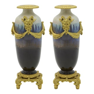 French Louis XVI Porcelain Candlesticks, Pair For Sale