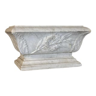 19th Century Louis XVI Carved Carrara Marble Neoclassical Planter
