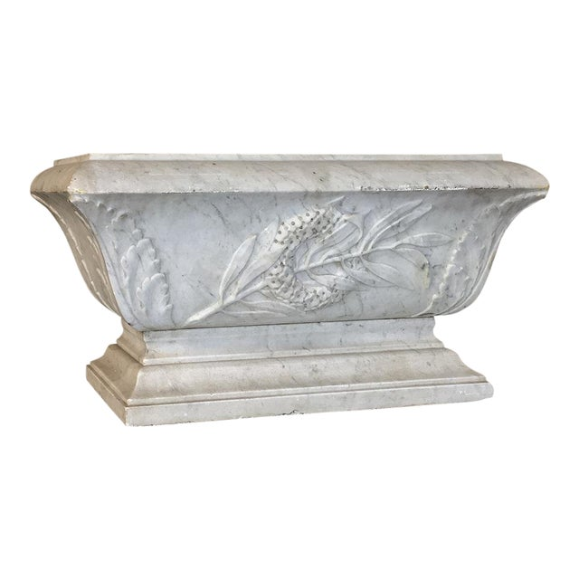 19th Century Louis XVI Carved Carrara Marble Neoclassical Planter For Sale