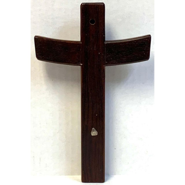 Mid-Century Modern Taxco Sterling and Mahogany Crucifix For Sale In West Palm - Image 6 of 8