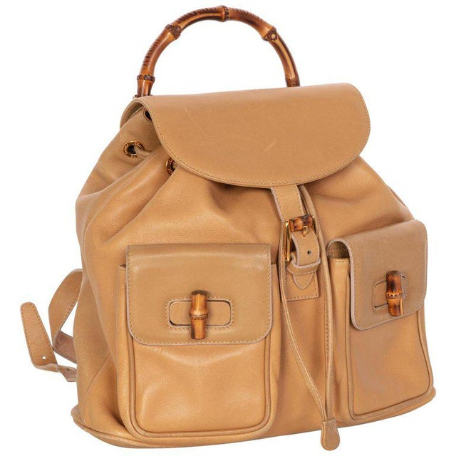 bd03423d7fc4 Brown Gucci Vintage Leather and Bamboo Handle Backpack For Sale - Image 8  of 8