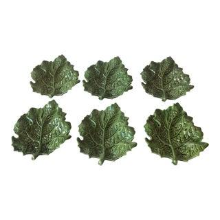 Majolica Grape Leaf Dessert/Salad Plates - Set of 6 For Sale