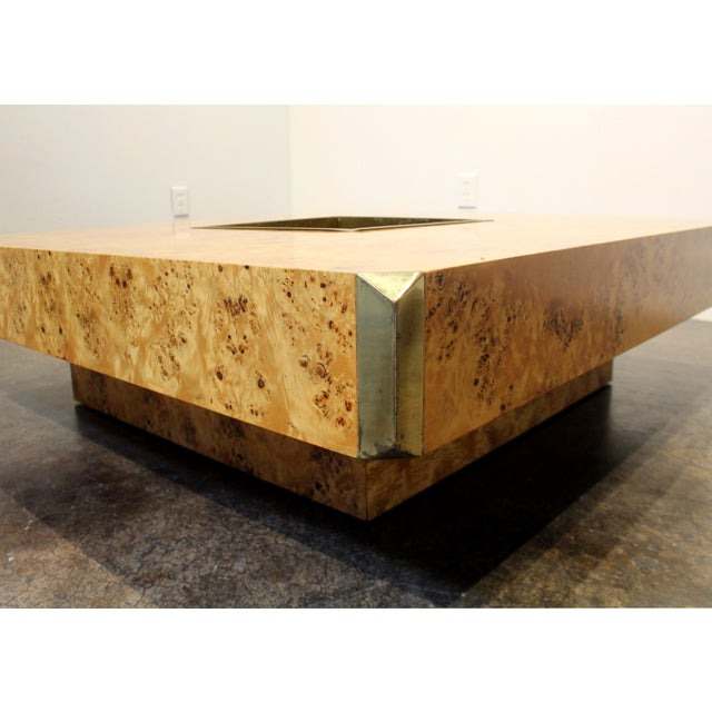 1970's Italian Willy Rizzo Burl Wood and Brass Coffee Table. For Sale In Dallas - Image 6 of 8