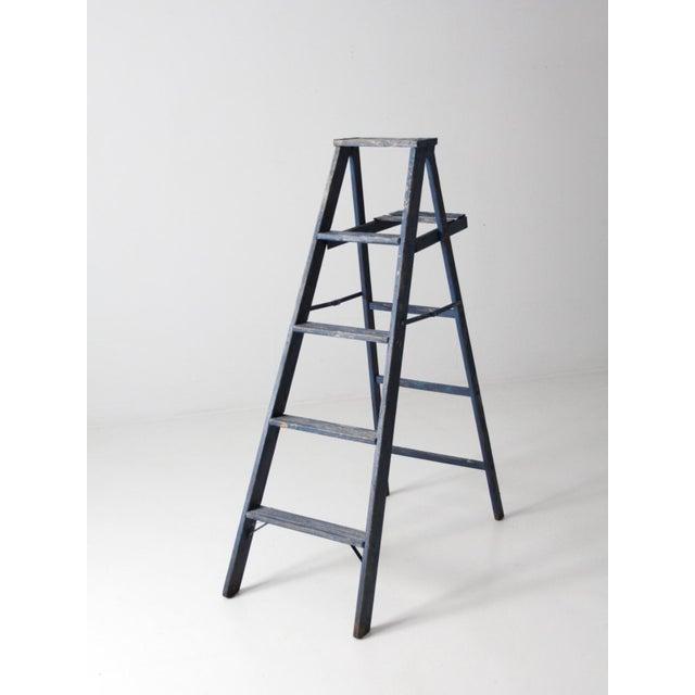 Vintage Blue Wooden Ladder For Sale - Image 4 of 10