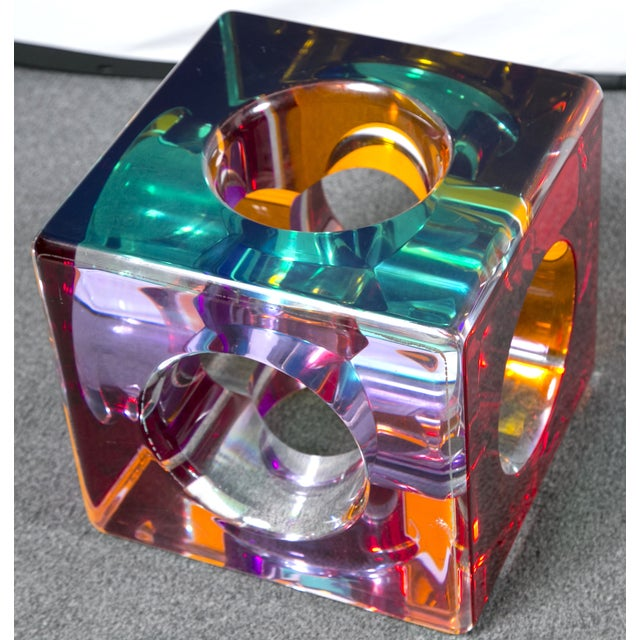 Red Hollow Colored Acrylic Cube Sculpture on Base For Sale - Image 8 of 8