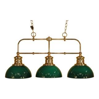 Reproduction Emberlite 3-Light Green Shade Brass Chandelier