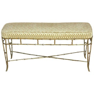 1950s Hollywood Regency French Bagues Style Faux Brass Bamboo Bench