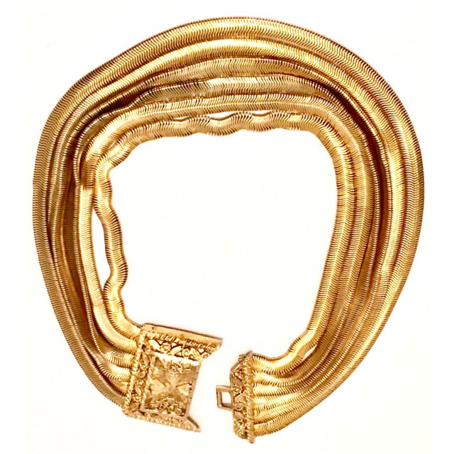 20th Century Les Bernard Inc. Gold Choker Necklace For Sale - Image 4 of 11