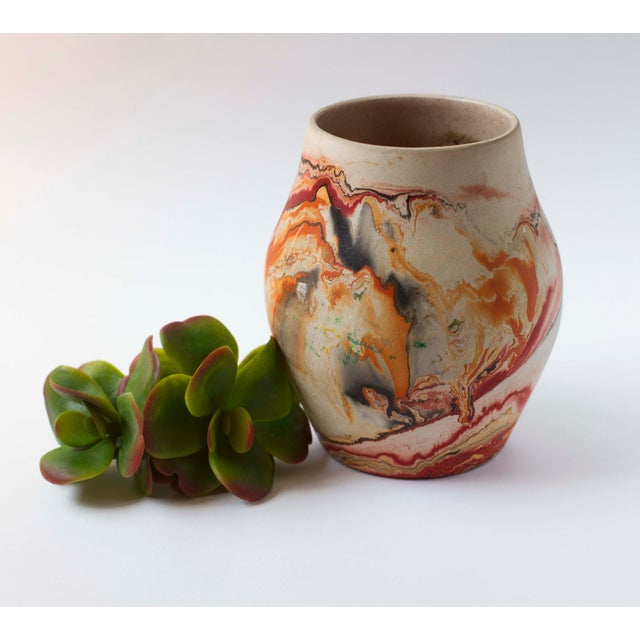 Vintage Red & Orange Nemadji Pottery Vase - Image 3 of 8