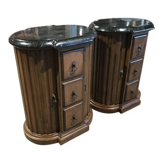 Wooden Green Marble Top Side Tables - A Pair