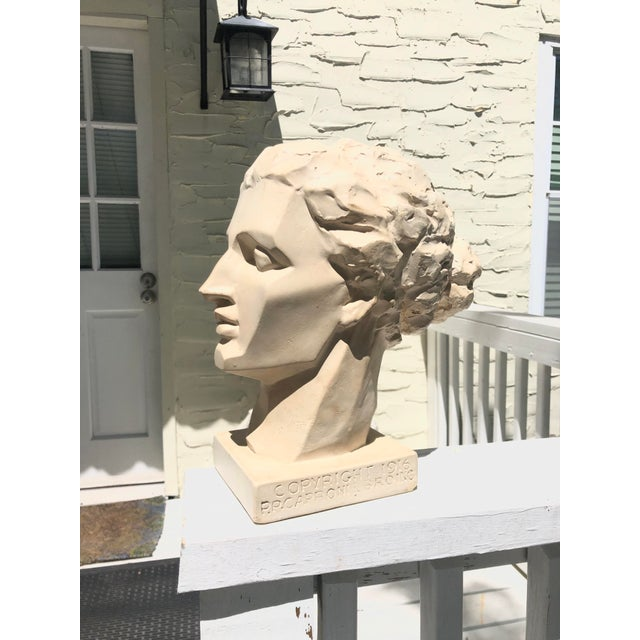 Vintage Caproni Brothers cast plaster sculpture of a blocked female head. This particular piece is in the permanent...
