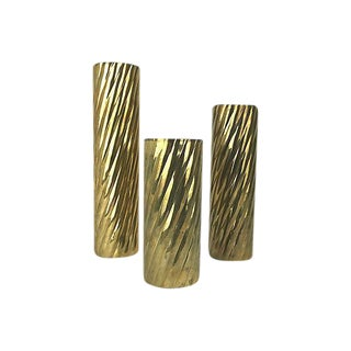 1970s Regency Modernist Swirl Brass Candle Holders - Set of 3 For Sale