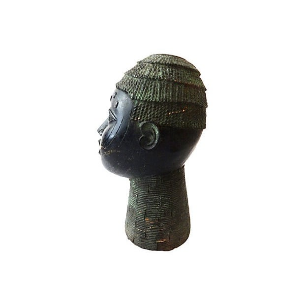 African Benin Bronze Head of King Oba - Image 4 of 6