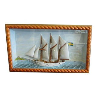Vintage Folk Art Sailing Ship Diorama For Sale