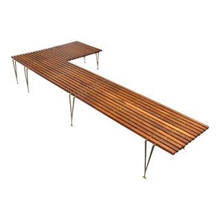 Extremely Rare L-Shaped Slat Bench Attributed to Hugh Acton For Sale