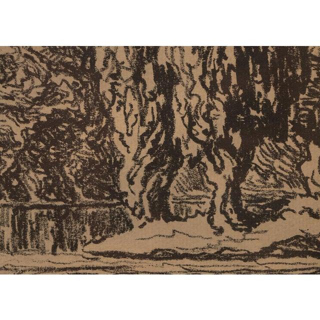 """1923 Birger Sandzen """"Pond With Poplars"""" Original Signed Framed Lithograph For Sale In Denver - Image 6 of 10"""