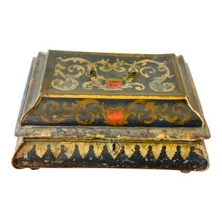 Antique French Decorative Tin Box For Sale