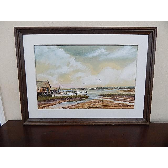This is a painting of a fishing village. The painting is signed in the lower right corner by Bob Brundage, 1973. The...