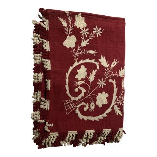 19th Century Hand Loomed Bright Red Woolen Coverlet For Sale