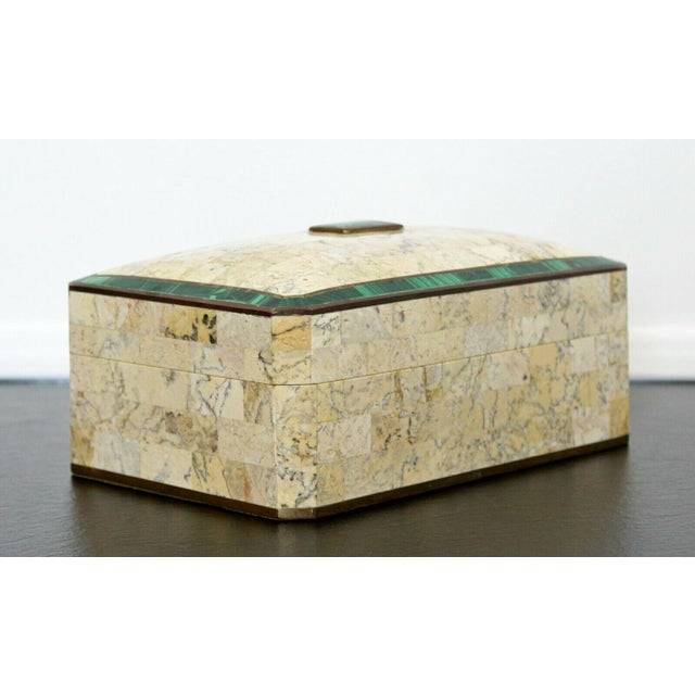 Brown Mid Century Modern Maitland Smith Brass Tessellated Stone Lidded Box Vessel 70s For Sale - Image 8 of 11