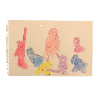 1980s Raymond Addonizio Watercolor Painting For Sale