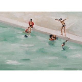 """""""The Outdoor Pool"""" Contemporary Abstract Poolside Oil on Archival Paper Painting"""