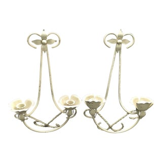 Mid-Century Wrought Iron Wall Sconce Candle Holders - Set of 2 For Sale